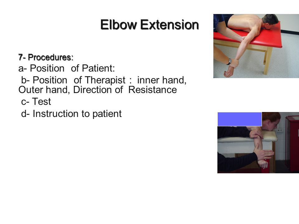 Elbow Extension a- Position of Patient: