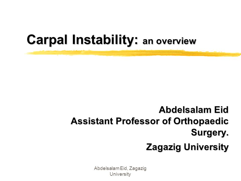 Carpal Instability: an overview