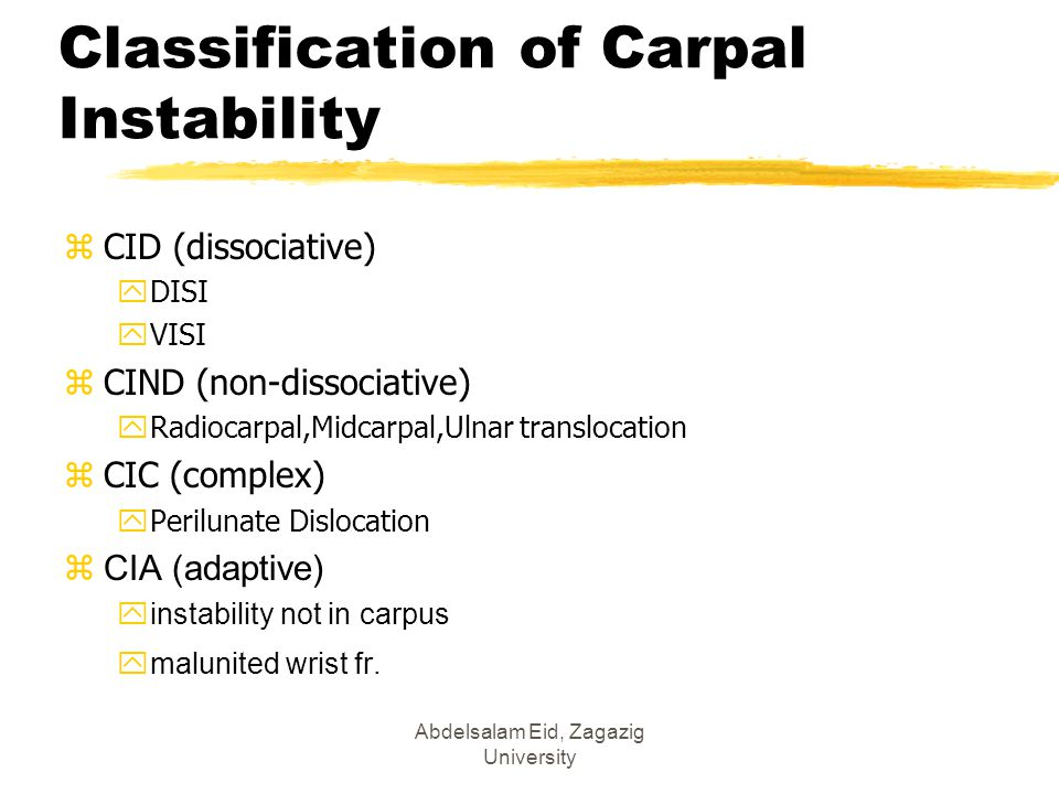 Classification of Carpal Instability