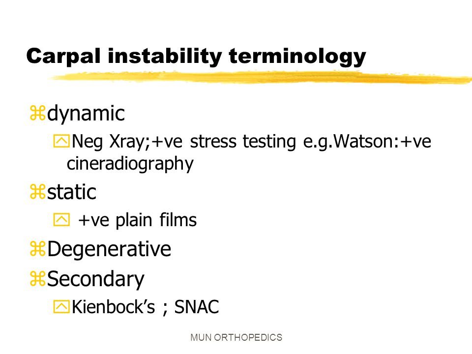 Carpal instability terminology