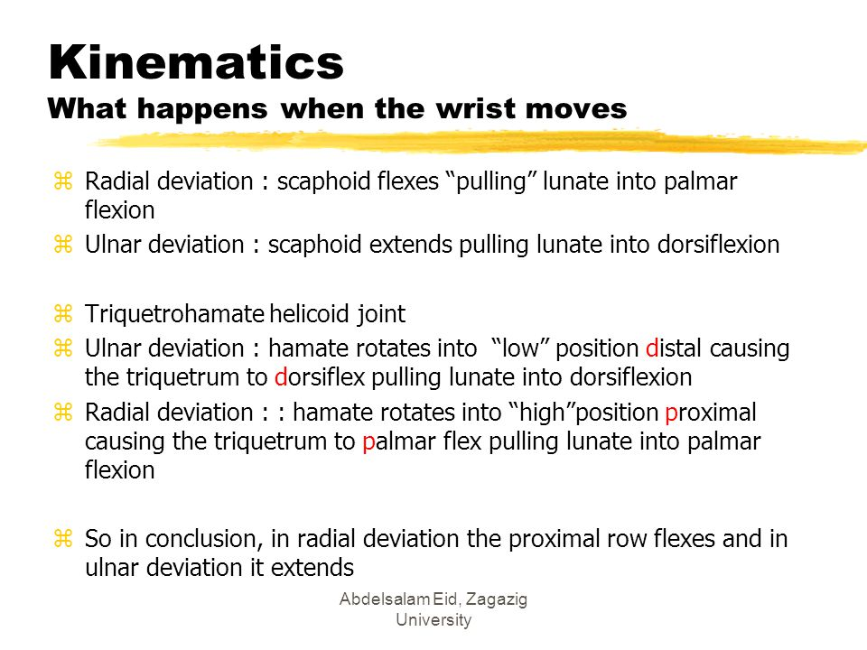 Kinematics What happens when the wrist moves