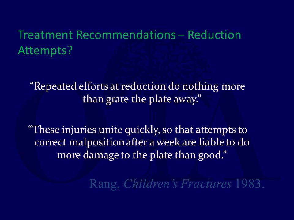 Treatment Recommendations – Reduction Attempts
