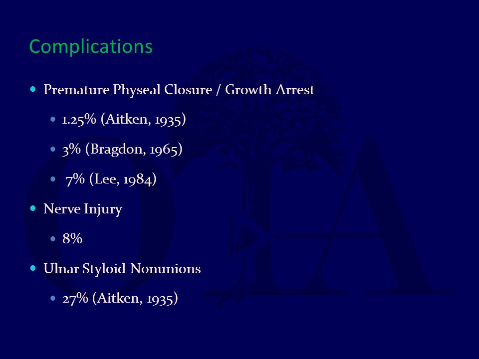 Complications Premature Physeal Closure / Growth Arrest