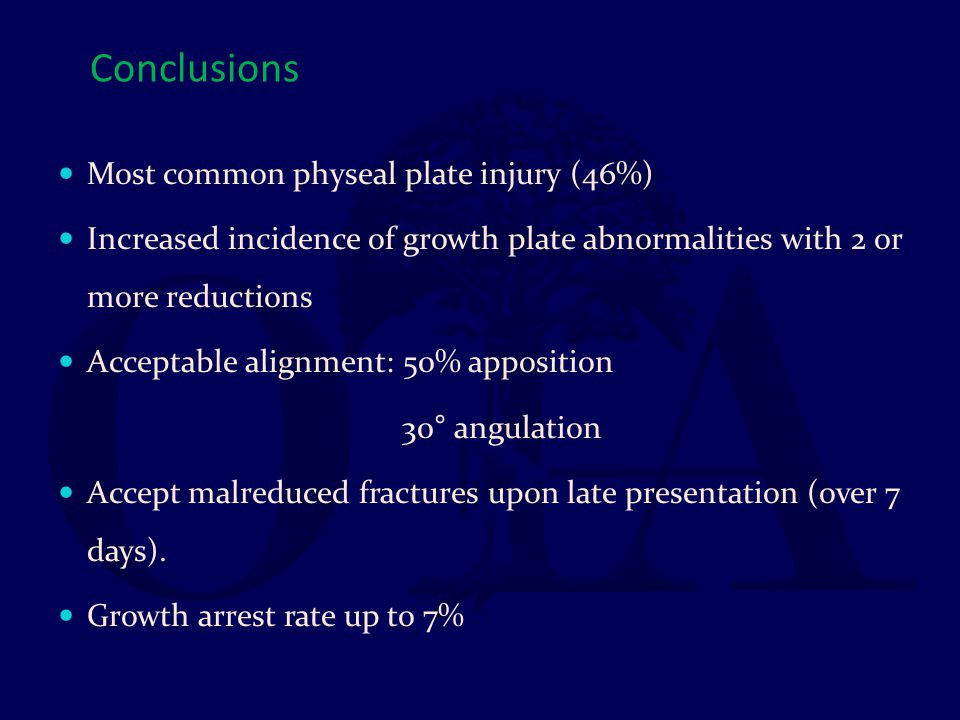 Conclusions Most common physeal plate injury (46%)