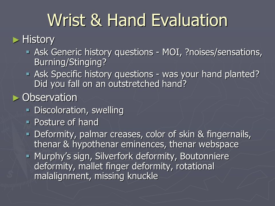 Wrist & Hand Evaluation