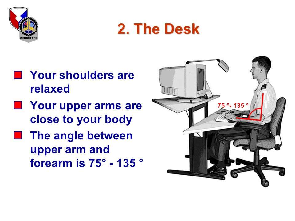 2. The Desk Your shoulders are relaxed