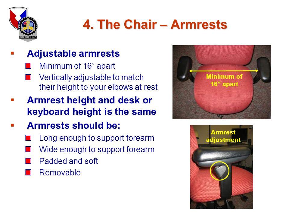 4. The Chair – Armrests Adjustable armrests