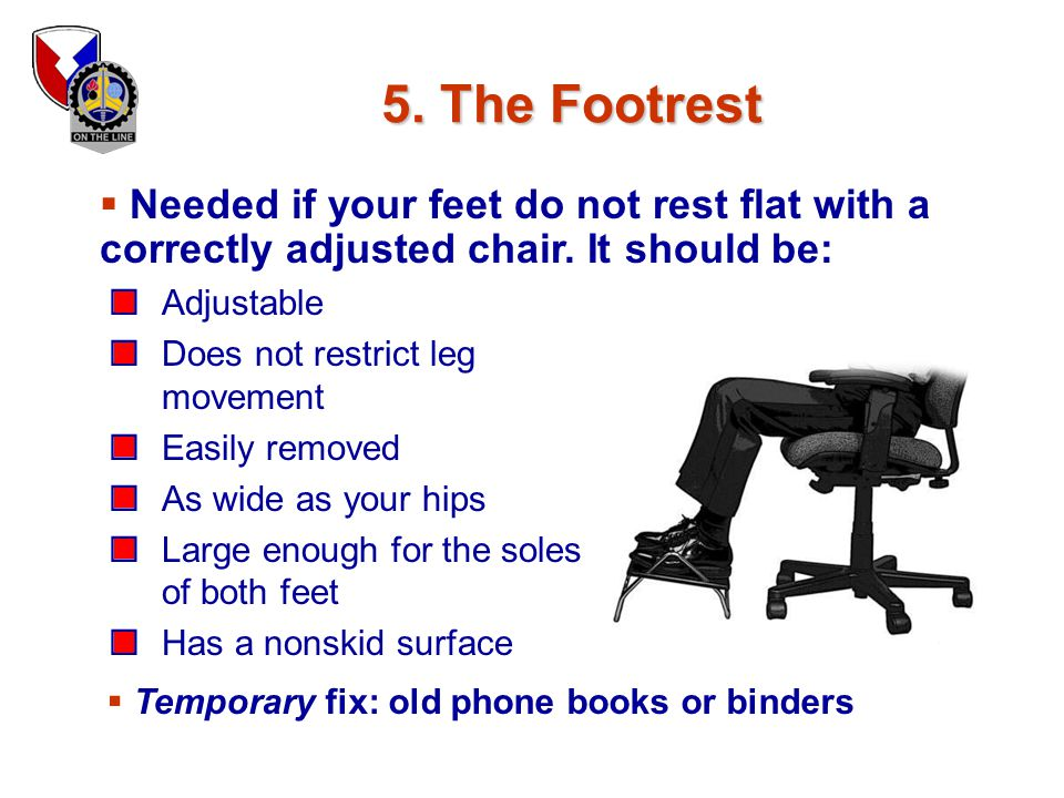 5. The Footrest Needed if your feet do not rest flat with a correctly adjusted chair. It should be: