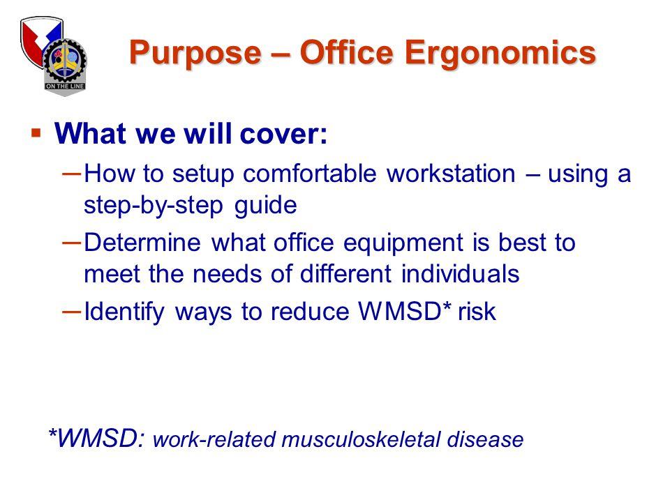 Purpose – Office Ergonomics