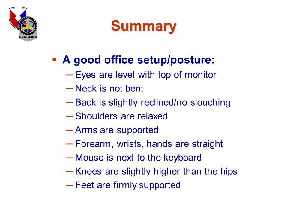 Summary A good office setup/posture: