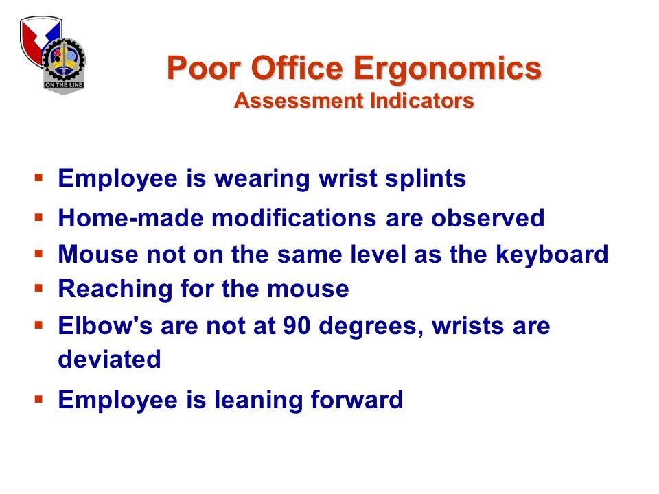 Poor Office Ergonomics Assessment Indicators