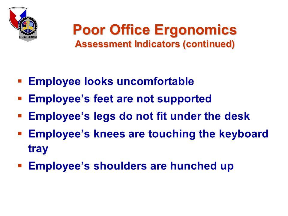 Poor Office Ergonomics Assessment Indicators (continued)