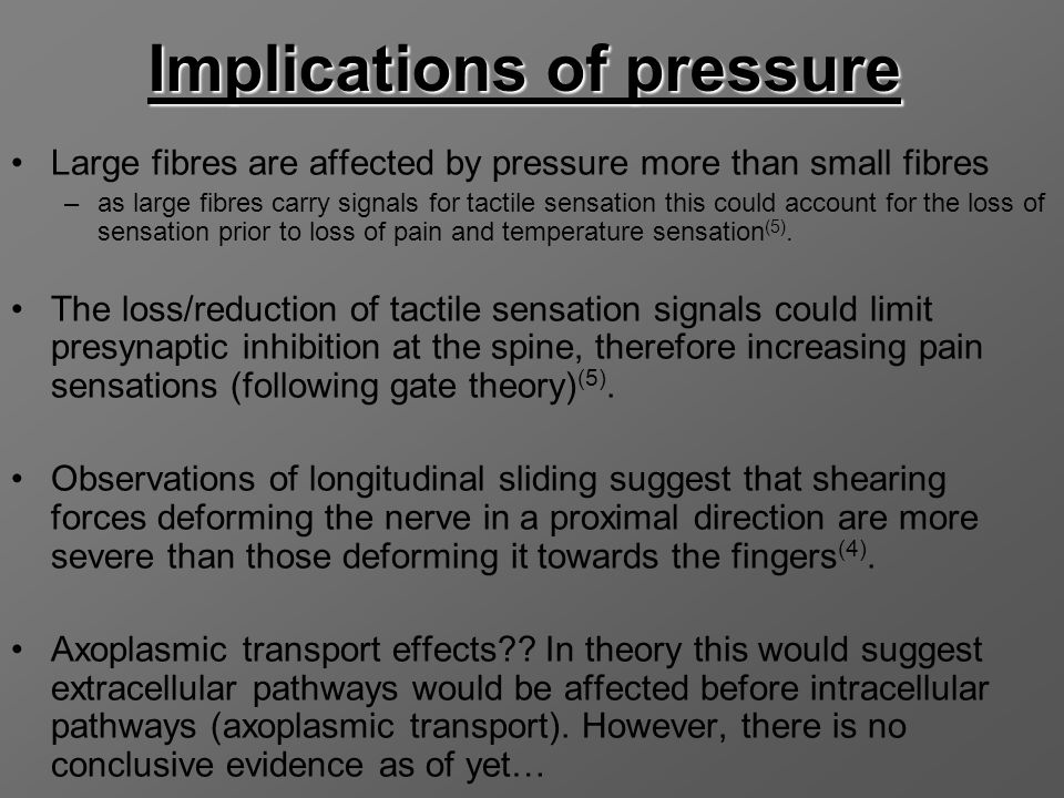Implications of pressure