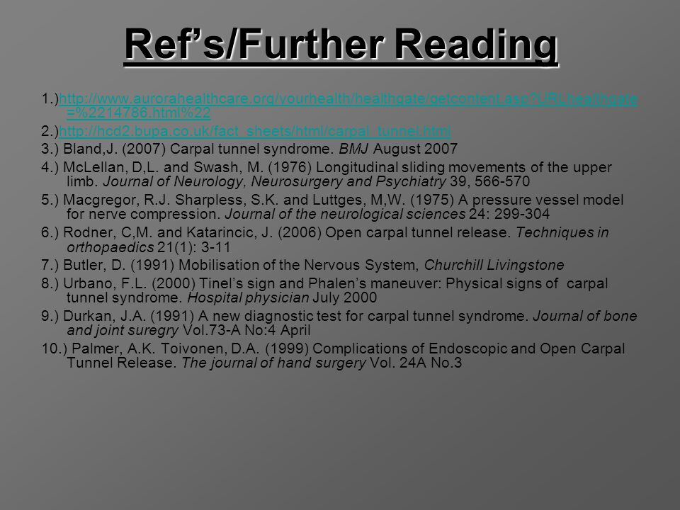Ref's/Further Reading