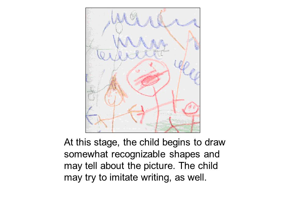 At this stage, the child begins to draw somewhat recognizable shapes and may tell about the picture.