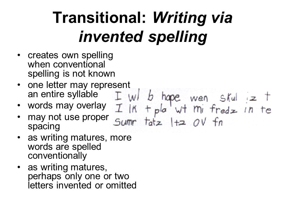 Transitional: Writing via invented spelling