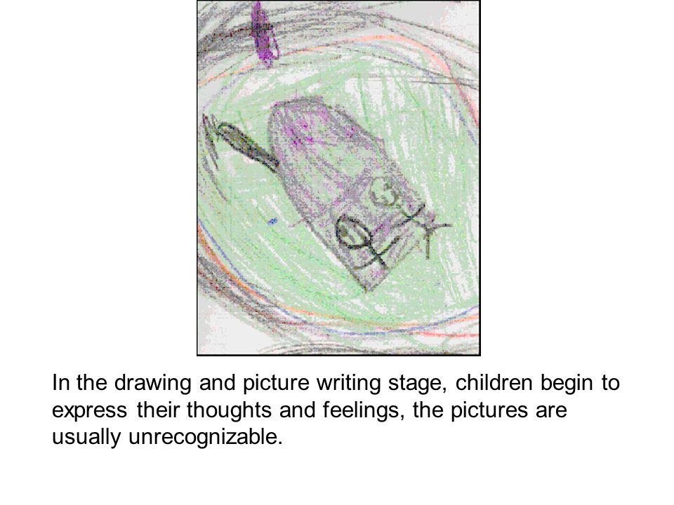 In the drawing and picture writing stage, children begin to express their thoughts and feelings, the pictures are usually unrecognizable.