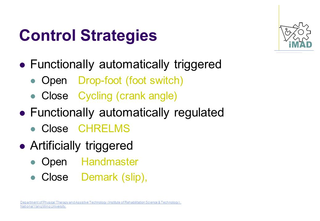 Control Strategies Functionally automatically triggered