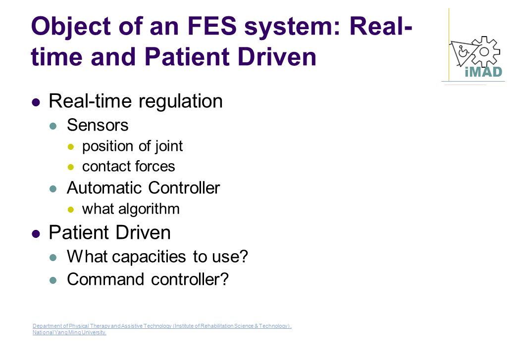 Object of an FES system: Real-time and Patient Driven