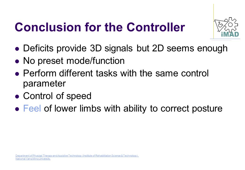 Conclusion for the Controller
