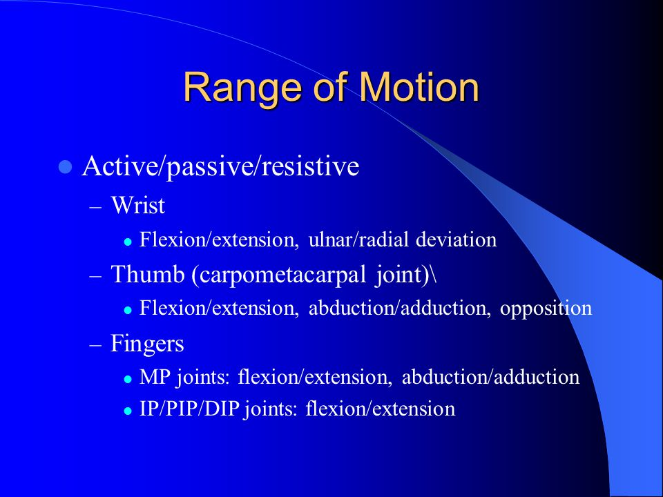 Range of Motion Active/passive/resistive Wrist