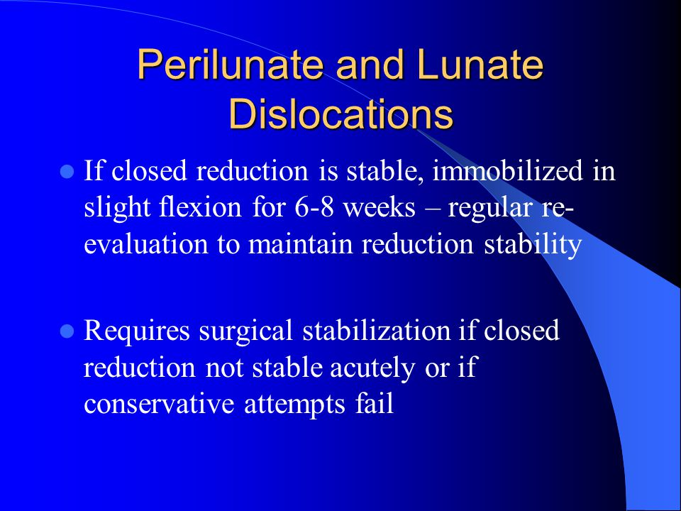 Perilunate and Lunate Dislocations