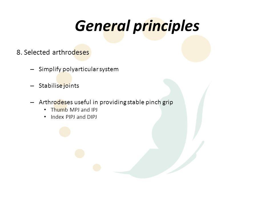 General principles 8. Selected arthrodeses