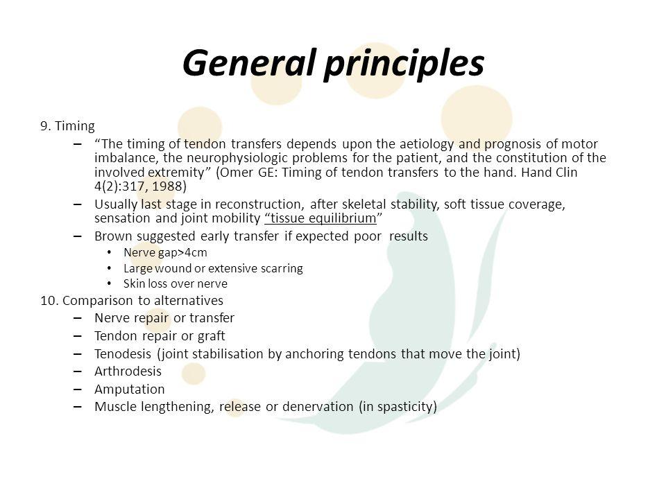 General principles 9. Timing