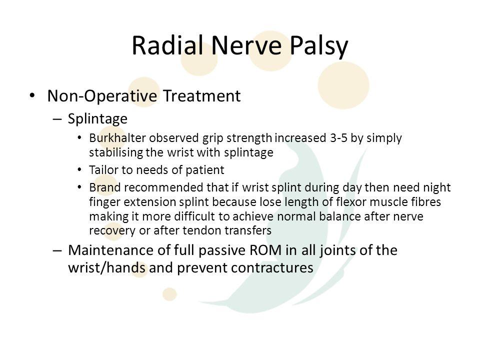 Radial Nerve Palsy Non-Operative Treatment Splintage