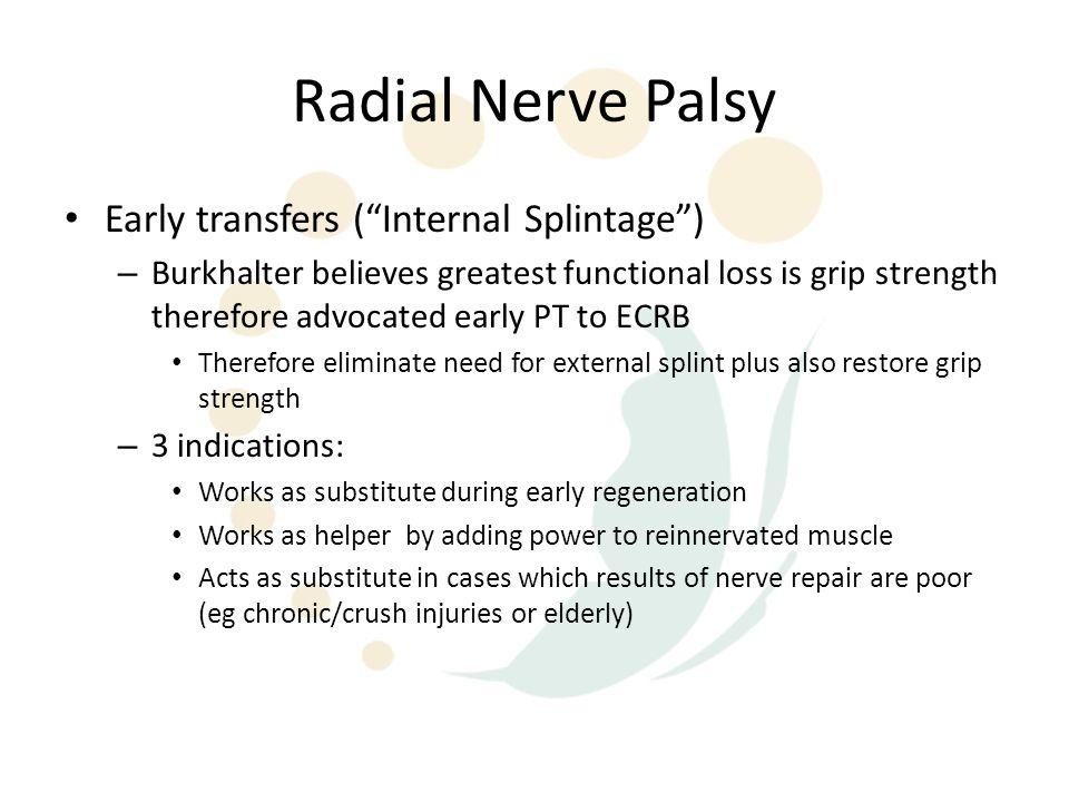 Radial Nerve Palsy Early transfers ( Internal Splintage )