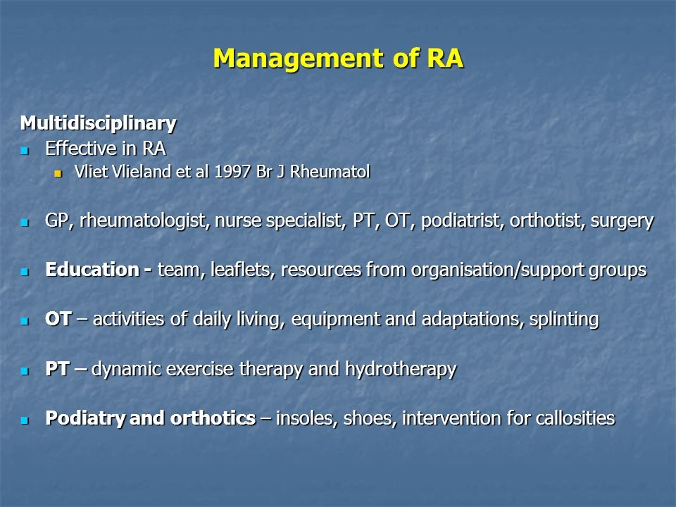 Management of RA Multidisciplinary Effective in RA