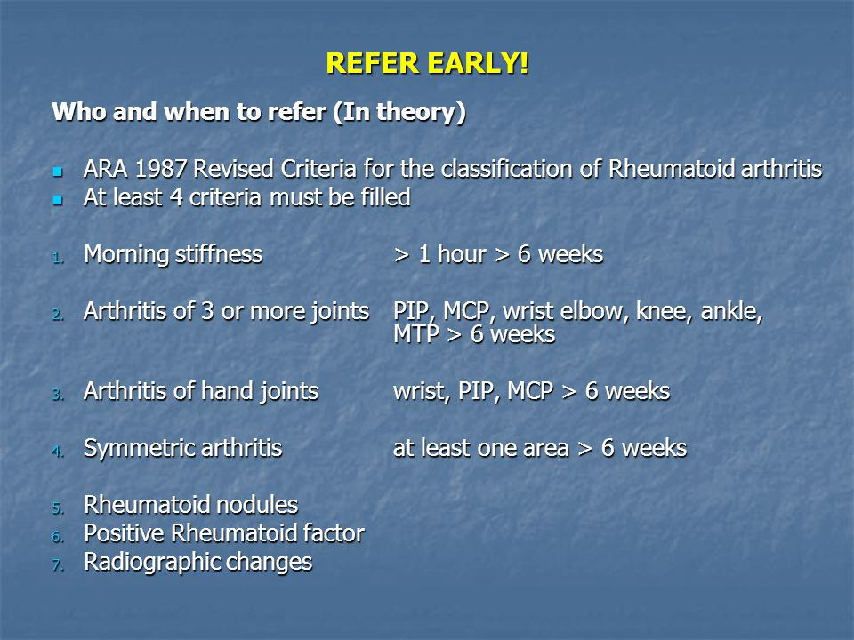 REFER EARLY! Who and when to refer (In theory)
