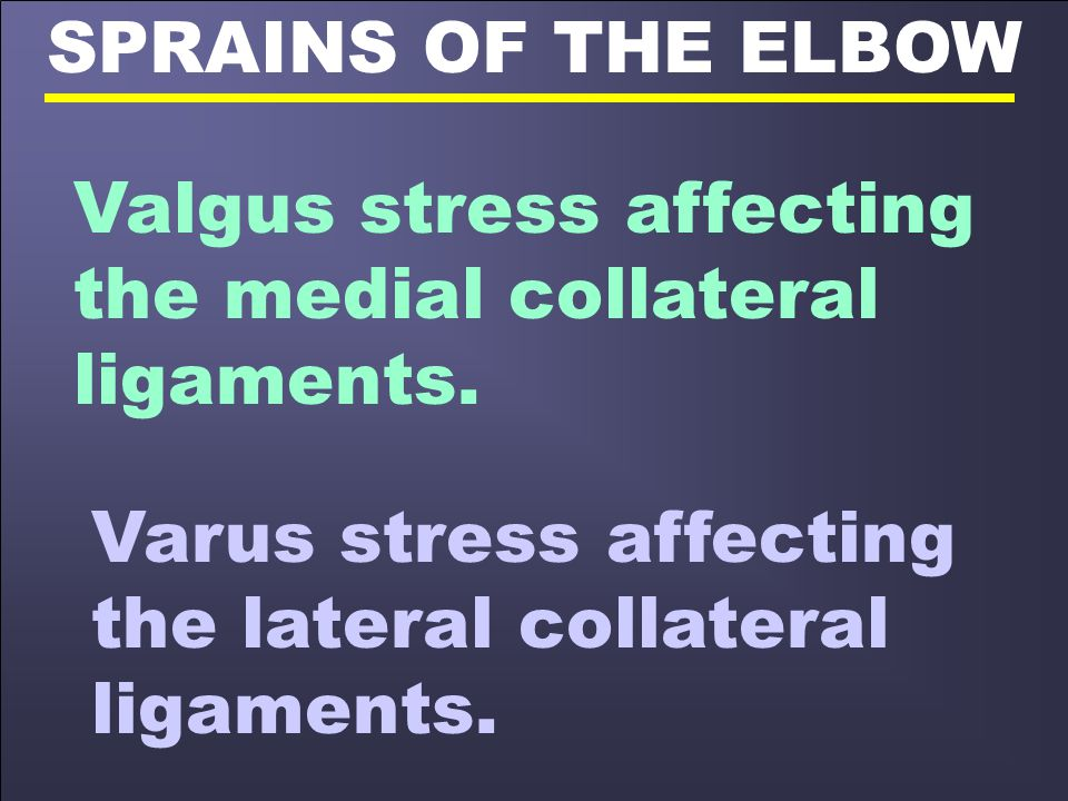 SPRAINS OF THE ELBOW Valgus stress affecting the medial collateral ligaments.