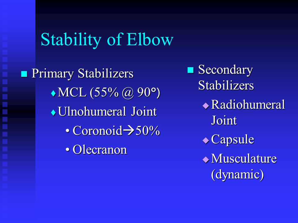 Stability of Elbow Secondary Stabilizers Primary Stabilizers