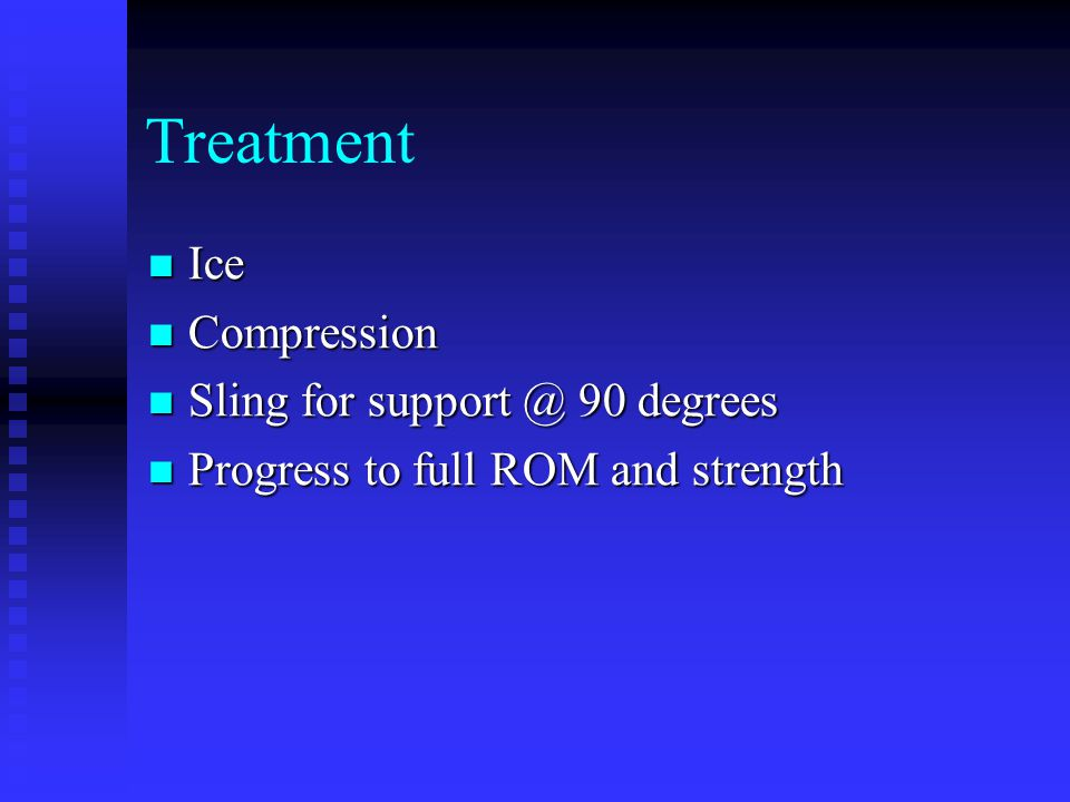 Treatment Ice Compression Sling for support @ 90 degrees