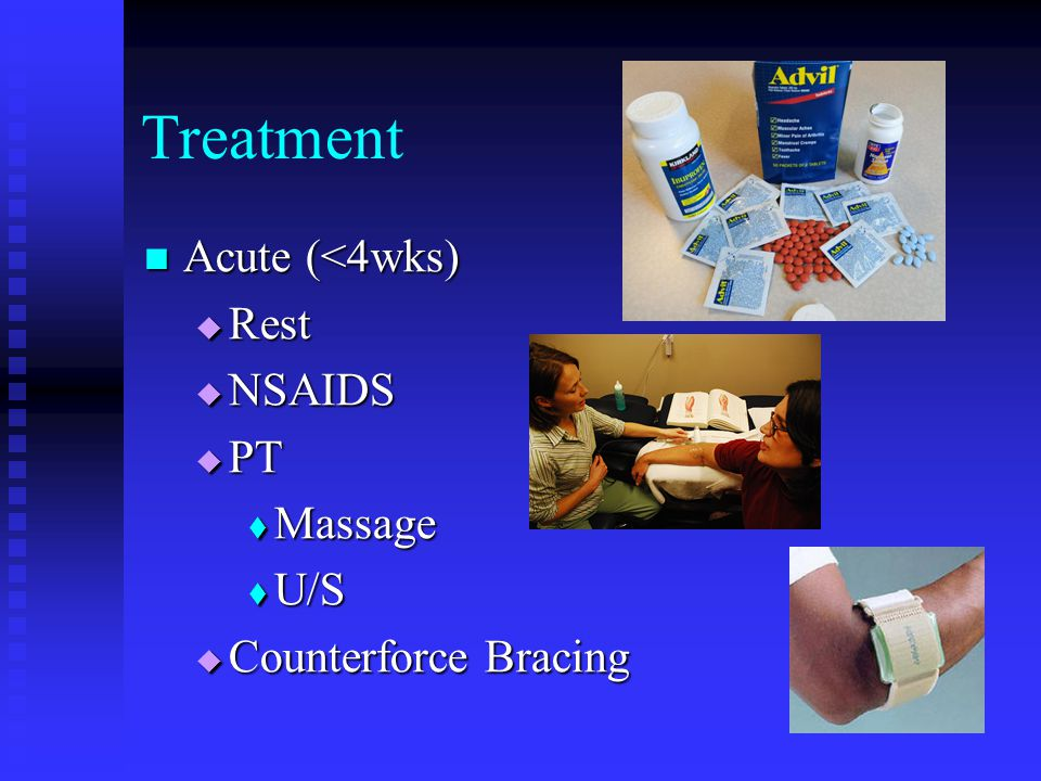 Treatment Acute (<4wks) Rest NSAIDS PT Massage U/S