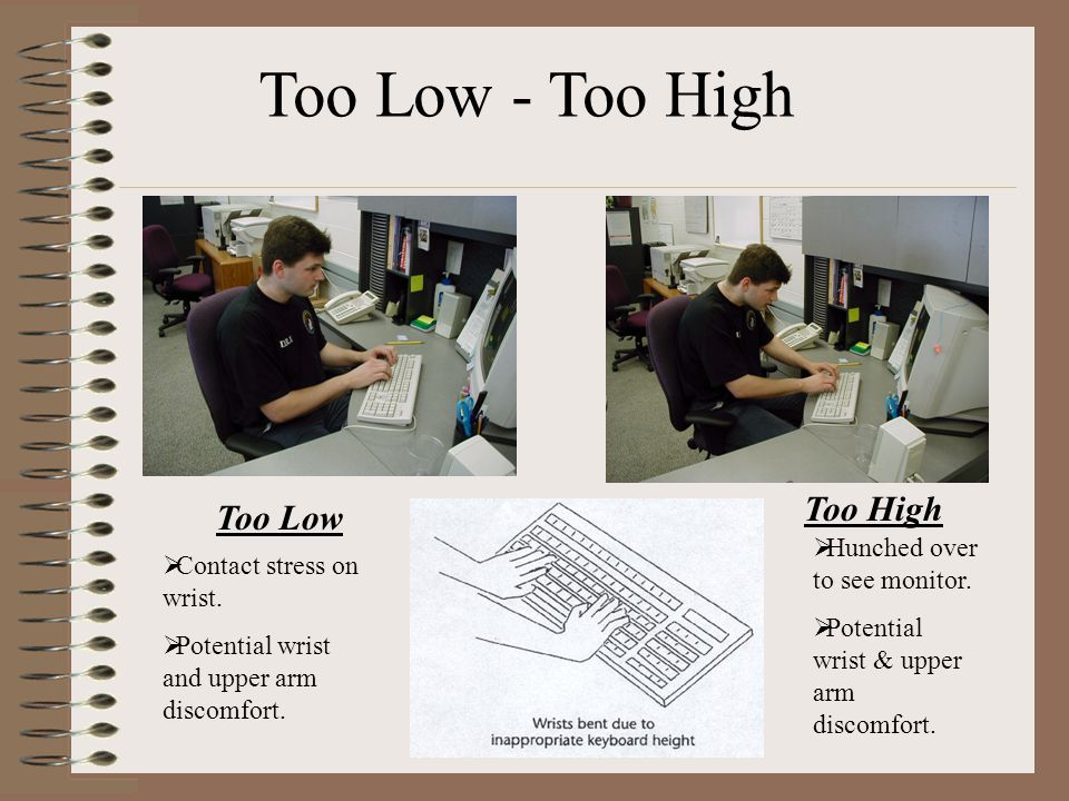 Too Low - Too High Too High Too Low Hunched over to see monitor.