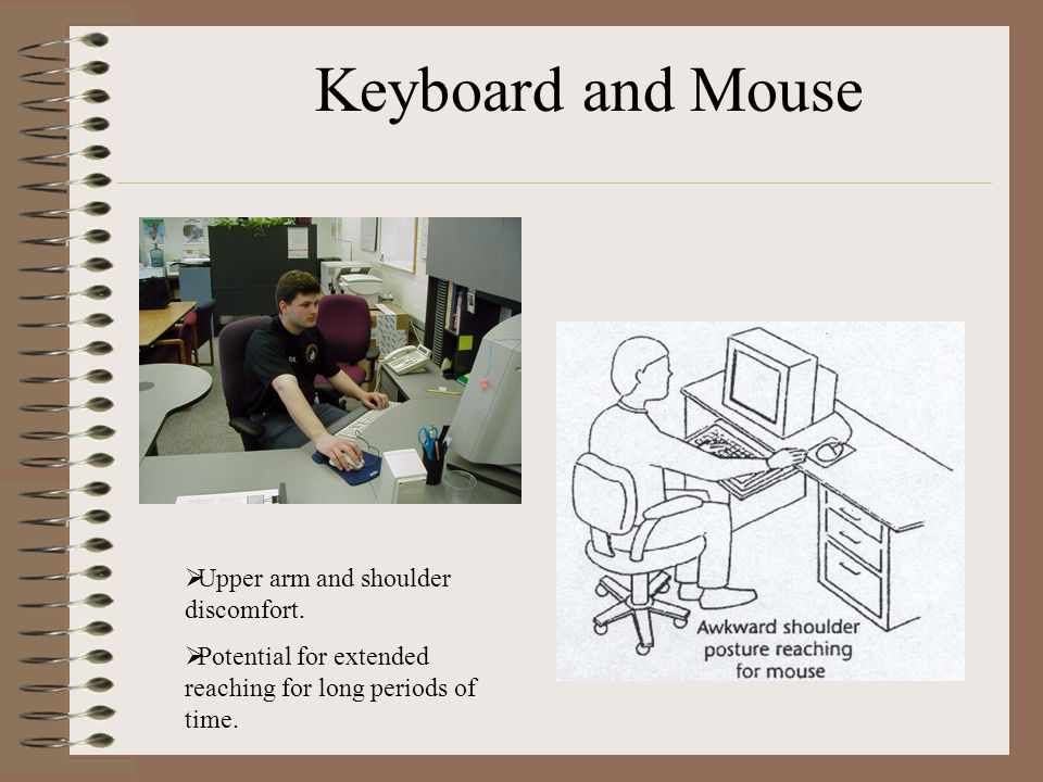 Keyboard and Mouse Upper arm and shoulder discomfort.