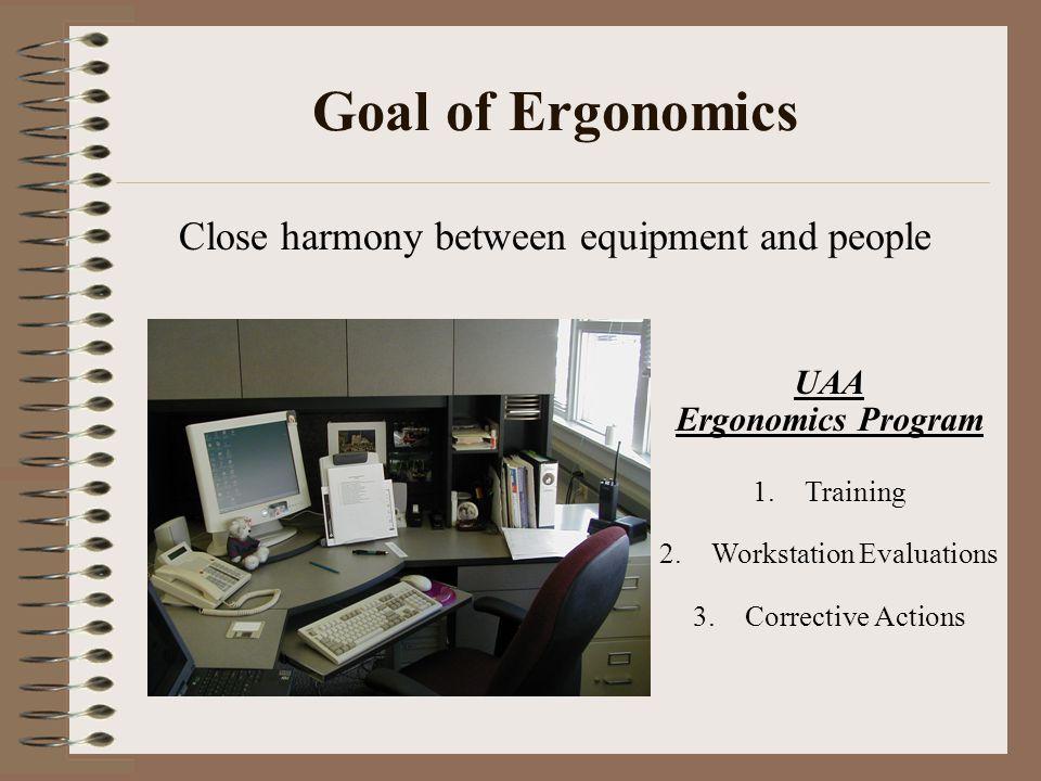 Goal of Ergonomics Close harmony between equipment and people UAA