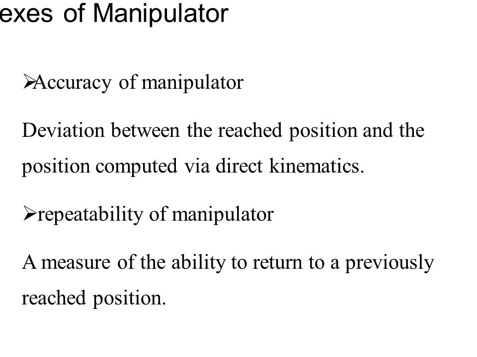 Performance Indexes of Manipulator