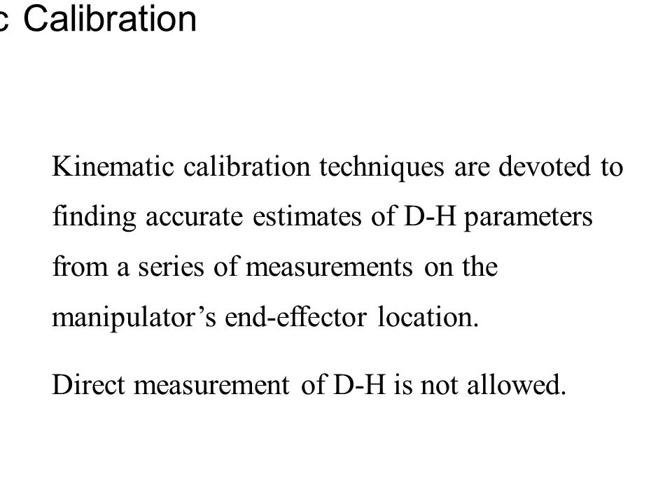 Kinematic Calibration