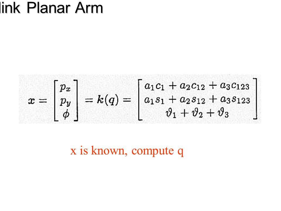 Three-link Planar Arm x is known, compute q