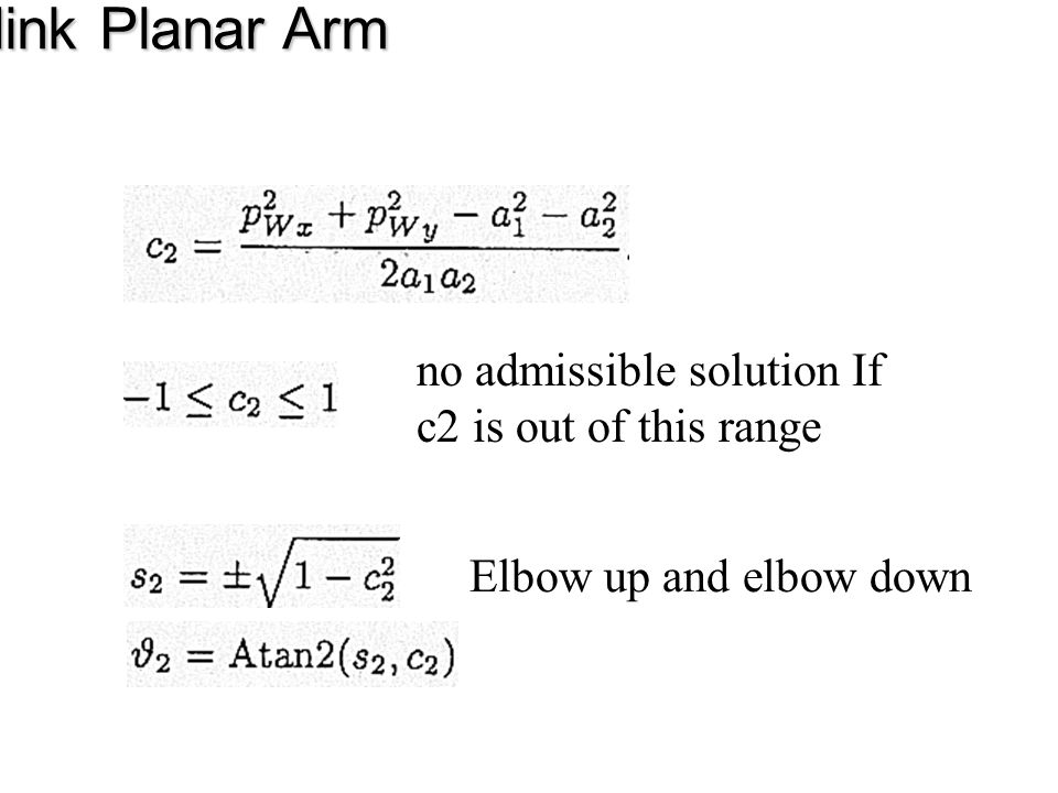 Three-link Planar Arm no admissible solution If c2 is out of this range Elbow up and elbow down