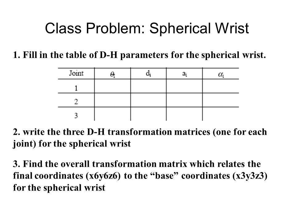 Class Problem: Spherical Wrist