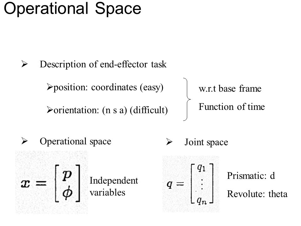 Joint Space and Operational Space