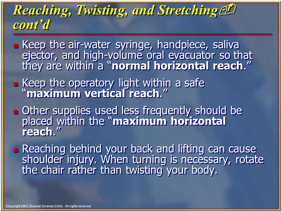 Reaching, Twisting, and Stretching- cont'd