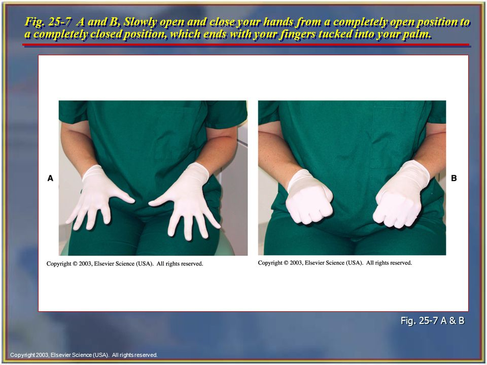 Fig. 25-7 A and B, Slowly open and close your hands from a completely open position to a completely closed position, which ends with your fingers tucked into your palm.