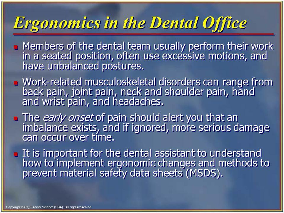 Ergonomics in the Dental Office