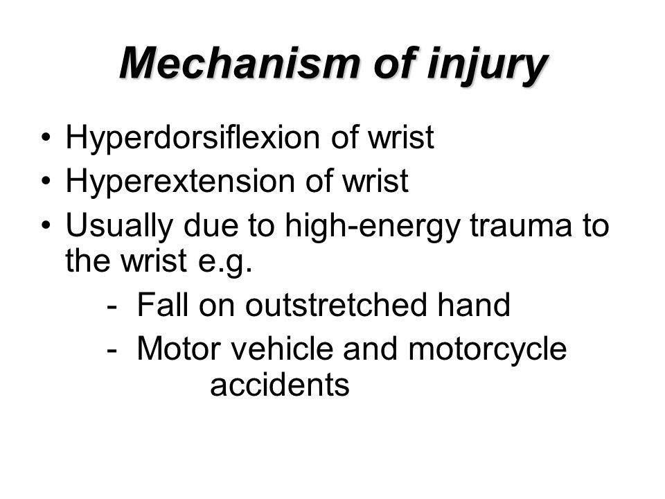 Mechanism of injury Hyperdorsiflexion of wrist Hyperextension of wrist