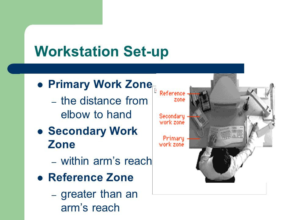 Workstation Set-up Primary Work Zone the distance from elbow to hand